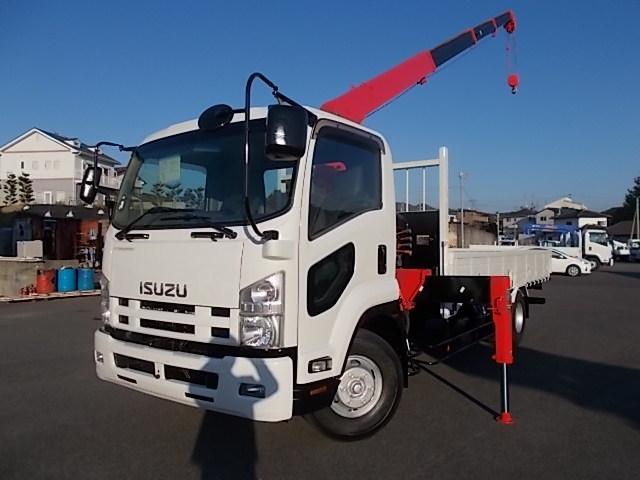 いすゞ  外装仕上げ済ベッドレス標準幅 クレーン付URU344NRKK 2.9t吊4段(フックイン・ラジコン)荷台内寸(5390*2130*400)