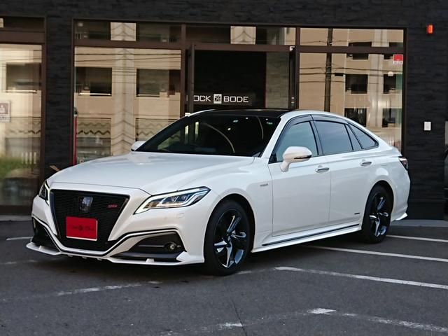 トヨタ クラウンハイブリッド RSアドバンス レザーシートPKG SR Grazio&Co.デモカー Grazio&Co.エアロ&インテリア カーボンルーフラッピング デジタルインナーミラー 黒革エアシート 3眼LED セーフティセンス HUD