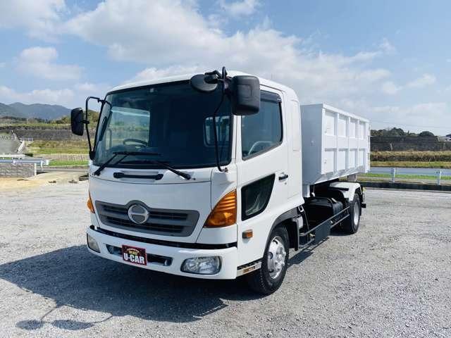 日野  4tアームロール 新品コンテナ付 自重計付 ターボ車 ベット付 極東4トンフックロール エアコン パワステ ABS ETC