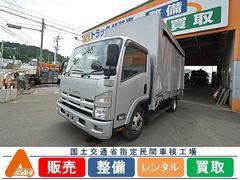 エルフトラック3.5tアルミブロックカーテン車 鳥居シマ板 カーナビ付