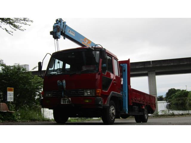 三菱ふそう ハイジャッキ タダノ4段クレーン ベッド付 6MT 全塗装済