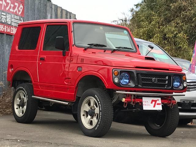 スズキ ランドベンチャー 保証付 全塗装済 リフトアップ公認済 社外フロントバンパー 社外リアバンパー 4WD ターボ 純正アルミホイール CDオーディオ エアコン パワステ 運転席エアバッグ ABS フロアAT