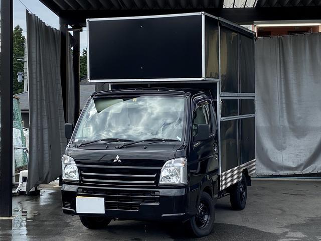 M 移動販売車キッチンカーエアコンパワステオートマチック車ブラックカラーオールペイント左側後部開口販売口外部電源入力100Vコンセントブレーカー内部照明換気扇Wシンク作業台車検令和5年5月