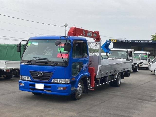 UDトラックス  ユニック製4段クレーン フックイン ラジコン付 最大積載量2450kg 作業灯付 HIDヘッドライト ETC 内外装仕上済 NOx・PM適合車