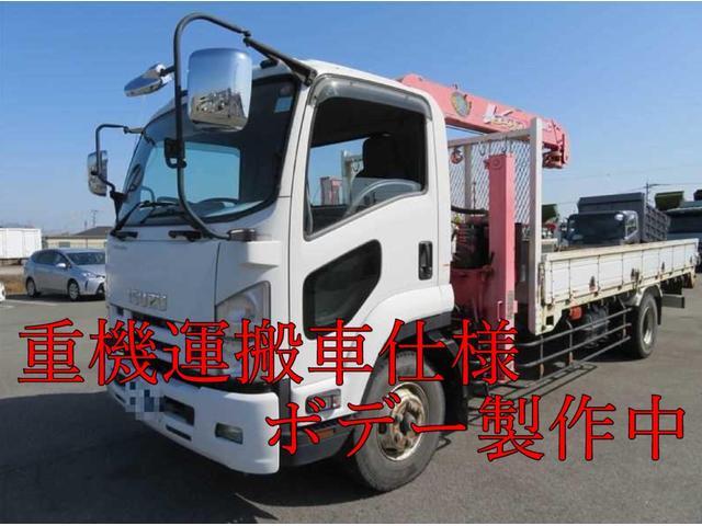 いすゞ  増t4段クレーン付重機運搬車 ラジコン付