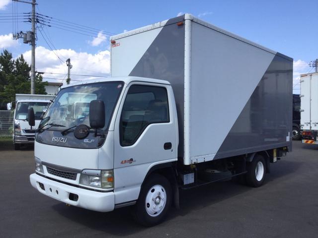 いすゞ エルフトラック 三菱ふそうバス製造アルミバン 新明和フルゲート 600kg