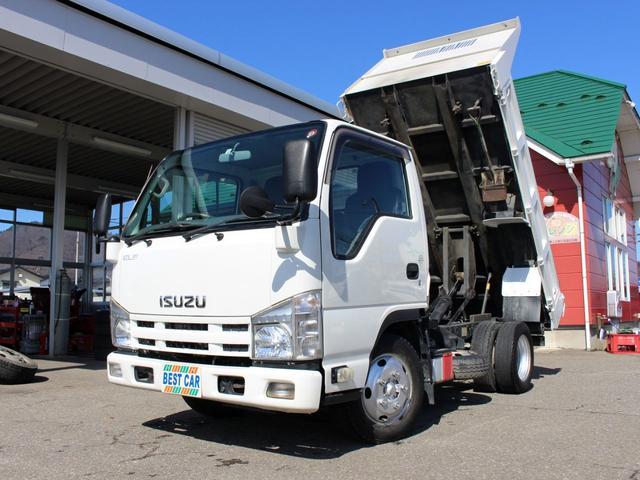いすゞ エルフトラック 強化フルフラットローダンプ 全低床2tダンプ 左電動格納ミラー キーレス 車両総重量4855kg ディーゼル フル装備