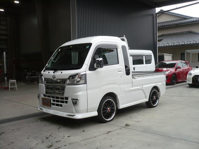 ダイハツ ハイゼットトラック ジャンボ フルエアロカスタム 純正ナビDTV 革調シートカバー 4WD