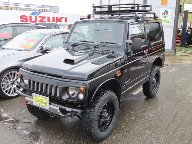 スズキ ワイルドウインド ブラックオールペン済み 5速MT 2インチリフトアップ ルーフキャリア LEDヘッドライト Bluetooth HKSマフラー 夏冬タイヤセット