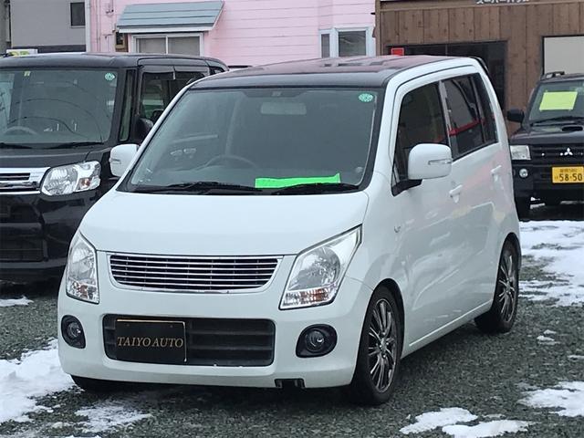 スズキ ワゴンR FX 車高調 ナビTV フリップダウンモニター 社外アルミホイール ルーフ黒塗装