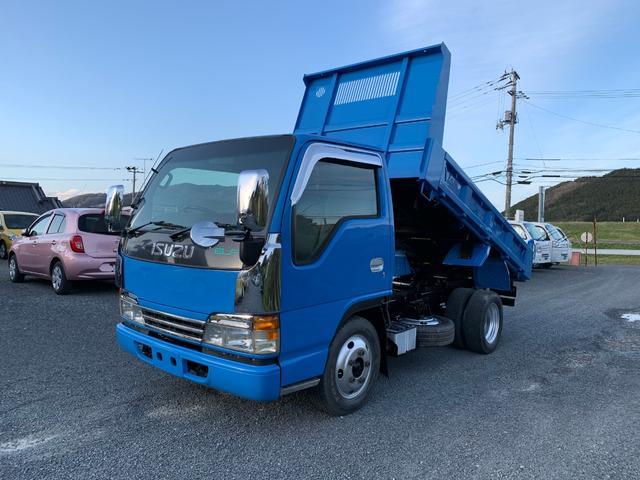 いすゞ エルフトラック 2トン 全低床強化ダンプ  エアコン  パワステ