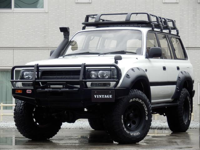 トヨタ ランドクルーザー80 VX ARBバンパーサファリシュノーケルルーフラックオーバーフェンダーインナーブラックライトLEDスモークコンビテールリフトアップ