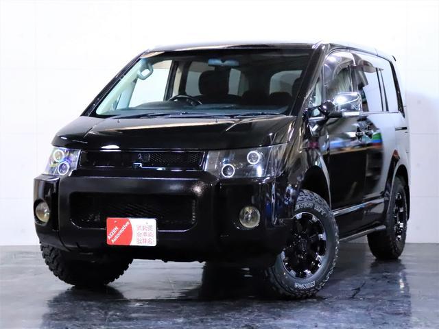 三菱 Gナビパケ4WDヘッドライト加工新品ホイール新品マッドタイヤ