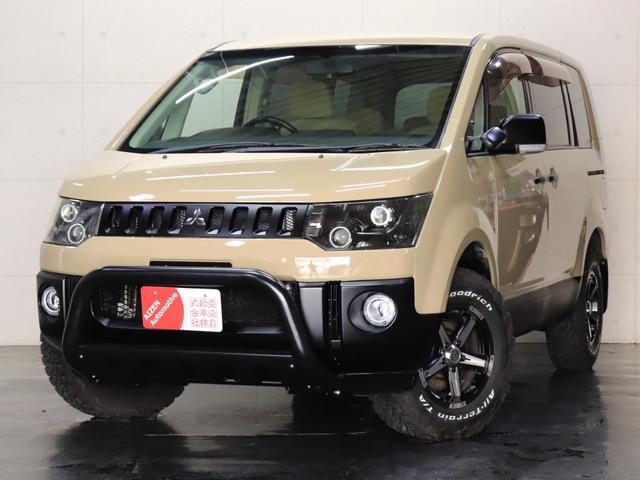 三菱 G パワーパッケージ ワンオーナー/4WD/パワースライドドア/ヘッドライト加工/社外ホイール/BFグッドリッジ/新品バンパーガード