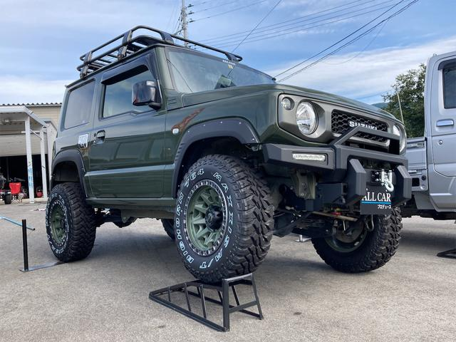スズキ XL 4WD 7インチワイドスクリーンアンドロイド シートヒーター スマートキー 特注アーミーグリーン オフロードウインチバンパー 電動ウインチ リフトアップ オフロードルーフラック リアラダー 社外LED