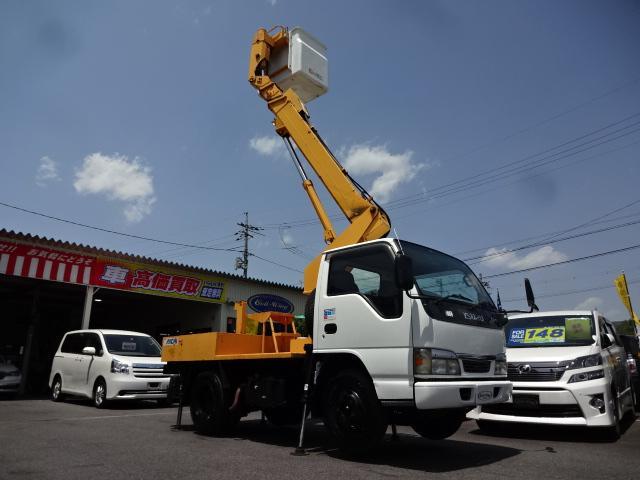 いすゞ エルフトラック  ・高所作業車・アイチSS10A・作業床高さ9.7m・エアコン・パワステ・パワーウインドウ・ABS・ETC・左電動格納ミラー