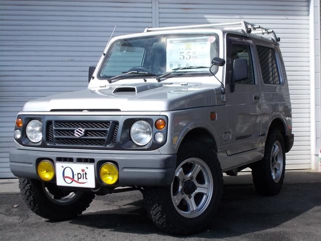 スズキ ランドベンチャー 4WD 5速MT 社外CDオーディオ ルーフキャリア 背面タイヤ レザー調シートカバー