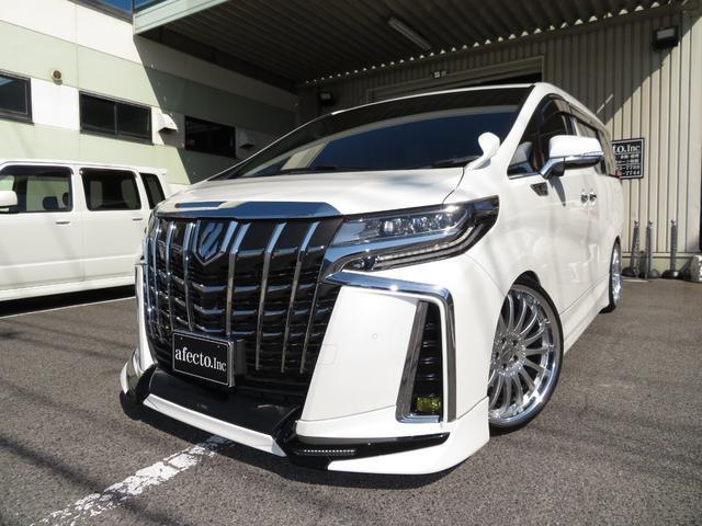 トヨタ アルファード 2.5S Cパッケージ アルパイン11型SDナビ 12.8型Rモニター マルチビューカメラ ツインムーンルーフ 3眼LEDヘッドライト デジタルインナーミラー ブラインドスポットモニター 車高調 カールソンアルミ