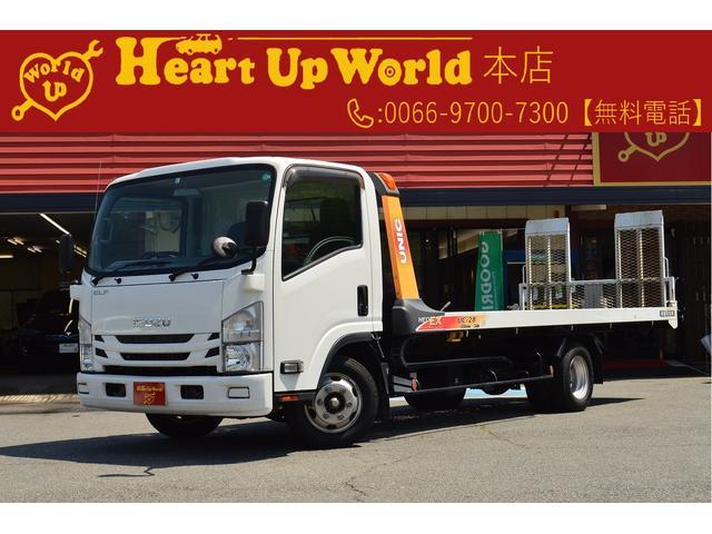 いすゞ エルフトラック フルフラットロー 2t積み積載車 SDナビ ETC リモコン 作業灯