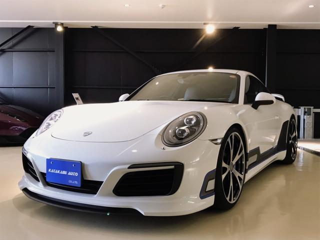 ポルシェ 911  テックアートフロントスポイラー サイドスカート リアディフューサー リアウイング テックアートカーボンテール切替式マフラー 21インチFormulaIII鍛造AW アルミペダル スカッフプレート