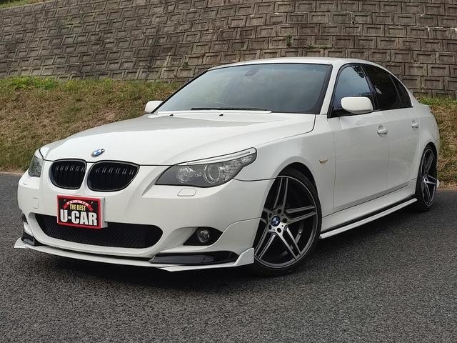 BMW 5シリーズ 525i Mスポーツパッケージ 純正ナビ/ETC/ハーフレザー/Pスタート/F・Rガラスモール新品/天井内張り貼替済み/社外エアロパーツ多数/20インチホイール/左右W出しマフラー/オゾン除菌脱臭済み/遠方陸送OK!!
