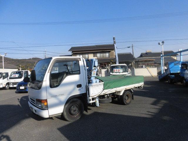 いすゞ エルフトラック フラットローLTD 5速 タダノ 簡易3段クレ-ン 1トン 吊り ディ-ゼル 1750kg積み