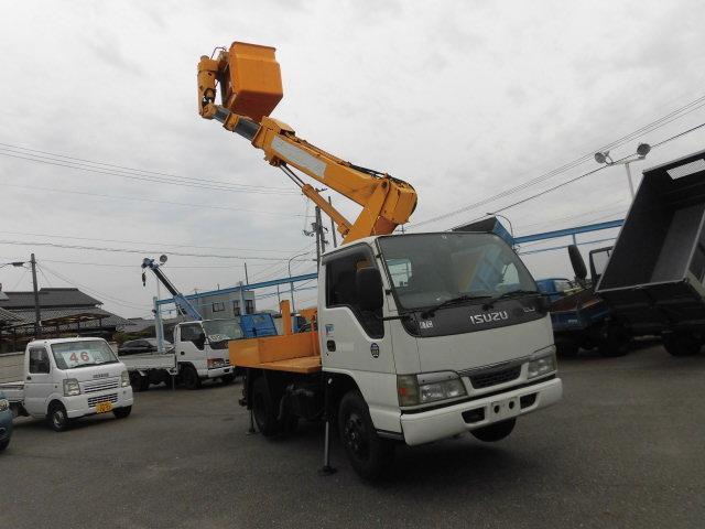 いすゞ エルフトラック  高所作業車 アイチ SS10A バスケット 最大地上高 9.7m 積載荷重200kg 2名 最大積載量500kg