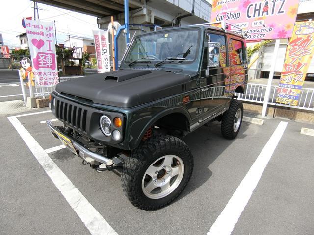 スズキ ジムニー XLリミテッド 5MT ターボ 4WD 外品16AW リフトアップ 外品LEDライト ルーフキャリア 革調シートカバー パワステ エアコン タイミングベルト交換済