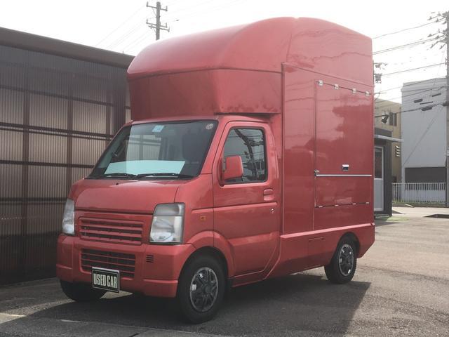 スズキ  キッチンカー 移動販売 シンク付 フライヤー付 冷蔵庫付 鉄板付 換気扇 5速マニュアル エアコン パワステ 2WD