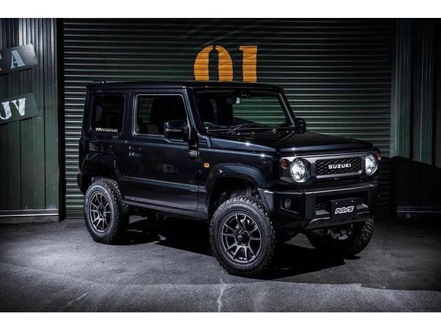 スズキ XC BLACKジムニー リフトアップ 3インチUP 16インチホイール&BFGタイヤ LEDヘッドライト 純正オプショングリルブラック塗装 フルオートエアコン セーフティサポート搭載