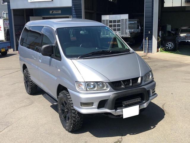 三菱 シャモニー 4WD 8人乗り 社外アルミ マッドタイヤ ナビ