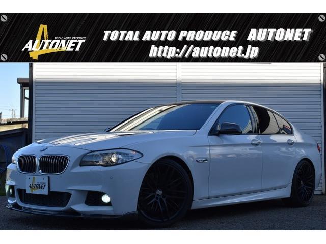 BMW 5シリーズ 528i Mスポーツパッケージ カーボンフルエアロ KELLENERS20インチAW H&Rダウンサス REMUS4本出しマフラー ルーフカーボンシート 純正ナビ・TV バックモニター 本革シート Yupiteruレーダー探知機