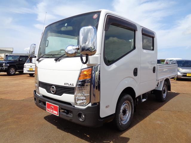 日産 アトラストラック WキャブフルスーパーローDX 4WD 積載1.15t ターボ ナビTV ETC キーレス スタッドレスタイヤセット付 全塗装済み タイヤサイズ 215/65R15