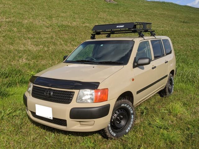 トヨタ サクシードバン UL 4WD 2インチリフトアップ ルーフキャリア 14インチ マットタイヤ HDDナビ オールペイント シートカバー