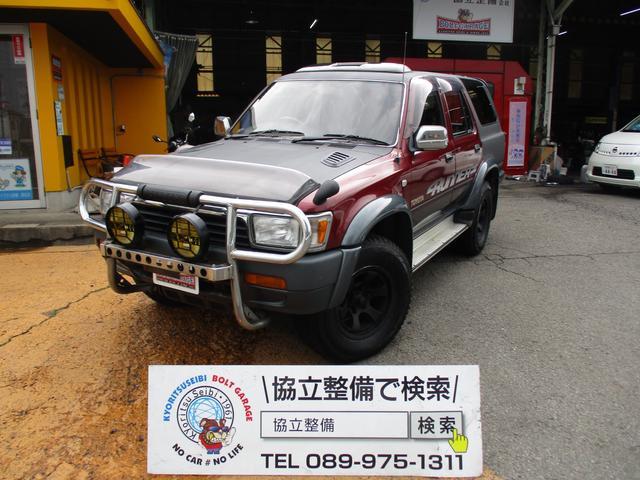 トヨタ ハイラックスサーフ SSR-X ワイド 4WD マットブラックツートン 背面タイヤ 社外16インチAW ナビ付 NARDIステアリング RECAROシート サンルーフ