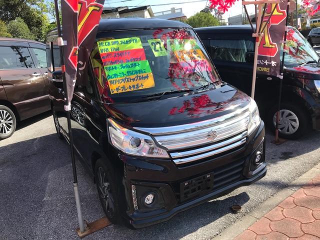 沖縄の中古車 スズキ スペーシアカスタム 車両価格 93万円 リ済込 2015(平成27)年 5.9万km ブラック