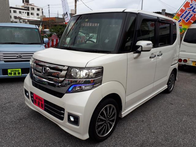 沖縄の中古車 ホンダ N-BOXカスタム 車両価格 95万円 リ済込 2015(平成27)年 9.0万km パールホワイト