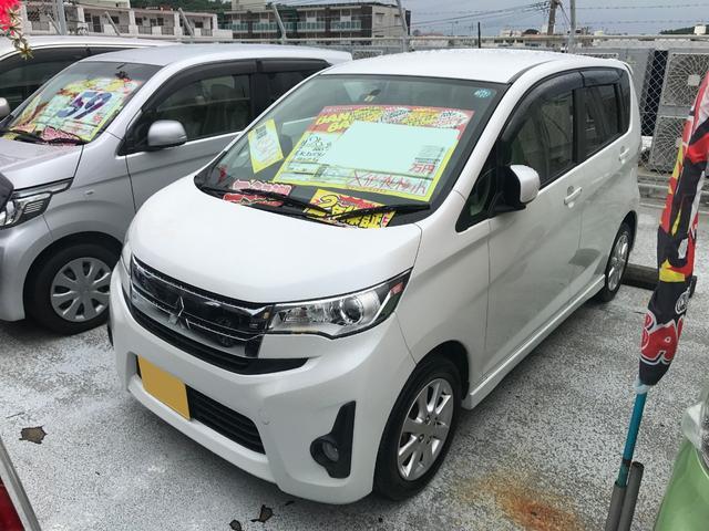 沖縄の中古車 三菱 eKカスタム 車両価格 51万円 リ済込 2013(平成25)年 8.3万km ホワイトパール
