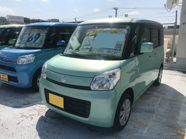 沖縄の中古車 スズキ スペーシア 車両価格 56万円 リ済込 2013(平成25)年 8.6万km Lグリーン
