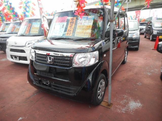 沖縄の中古車 ホンダ N-BOX 車両価格 80万円 リ済込 2012(平成24)年 8.4万km クリスタルブラックパール