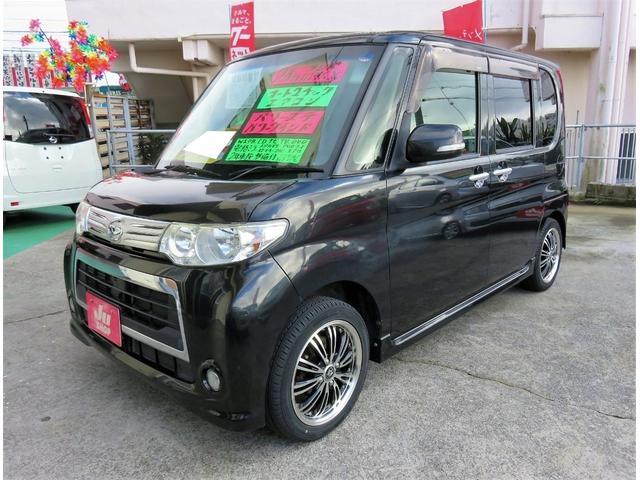 沖縄県宜野湾市の中古車ならタント カスタムX ワンオーナー アイドリングストップ パワースライドドア スマートキー ナビ TV Bluetooth ETC エアロ 社外15インチアルミ 1年保証