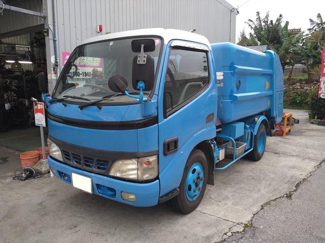うるま市 太田商会 日野 デュトロ  ゴミ収集車 パッカー車 5MT LPG XZU301X改 ブルー 14.5万km 2003(平成15)年