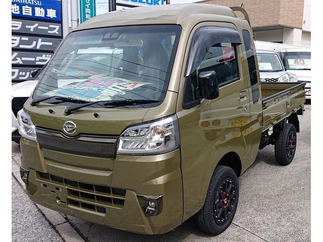 沖縄県の中古車ならハイゼットトラック  2インチリフトアップ ホワイトレタ-新品アルミタイヤ
