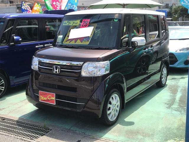 沖縄県の中古車ならN-BOX G・ターボLパッケージ スマートキー ナビTV(DVD視聴可) バックモニター ETC ベンチシート アイドリングストップ 左側パワースライドドア 社外14インチアルミ カラフルツートンカラー