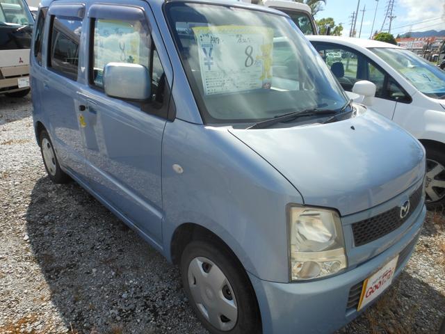 沖縄の中古車 マツダ AZワゴン 車両価格 8万円 リ済込 平成17年 18.6万km ライトブルー