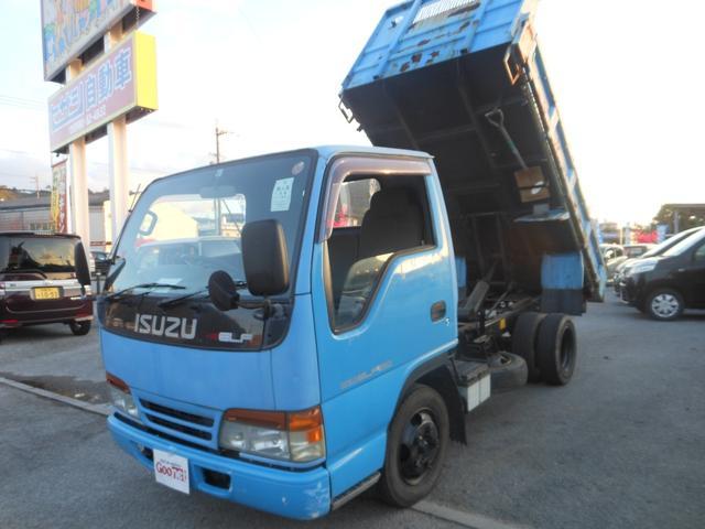 名護市 ヒサシ自動車 いすゞ エルフトラック ダンプ 低床 現状車 ブルー 11.4万km 1995(平成7)年