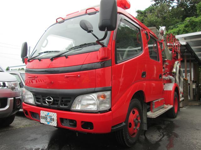 豊見城市 workshop GOOD☆JOB 日野 デュトロ 元消防車 ディーゼル ハイルーフ Wキャブ MT5速 色替レッド 1.4万km 2004(平成16)年