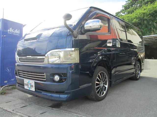 沖縄県の中古車ならハイエースバン ロングスーパーGL 2500ccディーゼルターボ 社外フルエアロ Rスポ ボンネット ワイパーガード  社外18インチアルミ Wエアコン 社外メッキパーツ