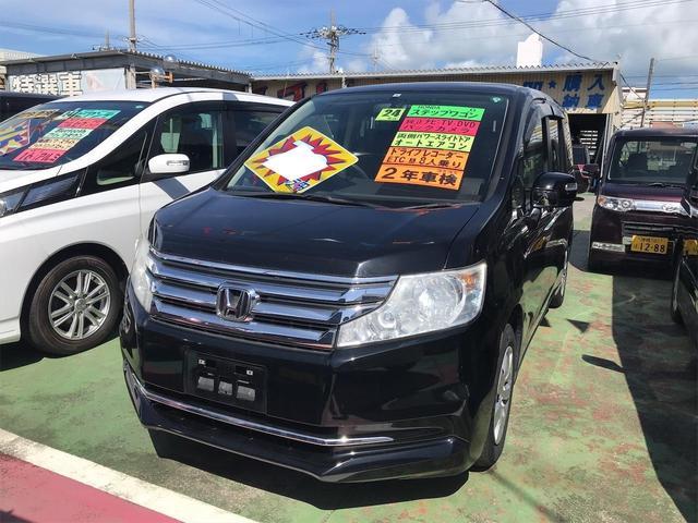 沖縄の中古車 ホンダ ステップワゴン 車両価格 78万円 リ済込 2012(平成24)年 10.6万km ブラック