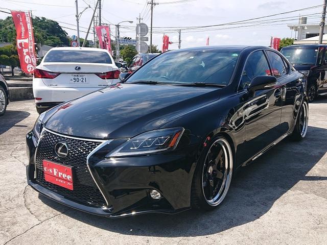 沖縄県の中古車ならIS IS250 Fスポーツ 純正HDDナビ・TV・DVD・Bluetooth・バックカメラ SSR19インチアルミホイル 車高調 2年保証